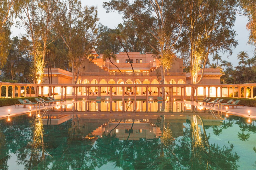 The main pool at Amanbagh Resort designed by ed tuttle