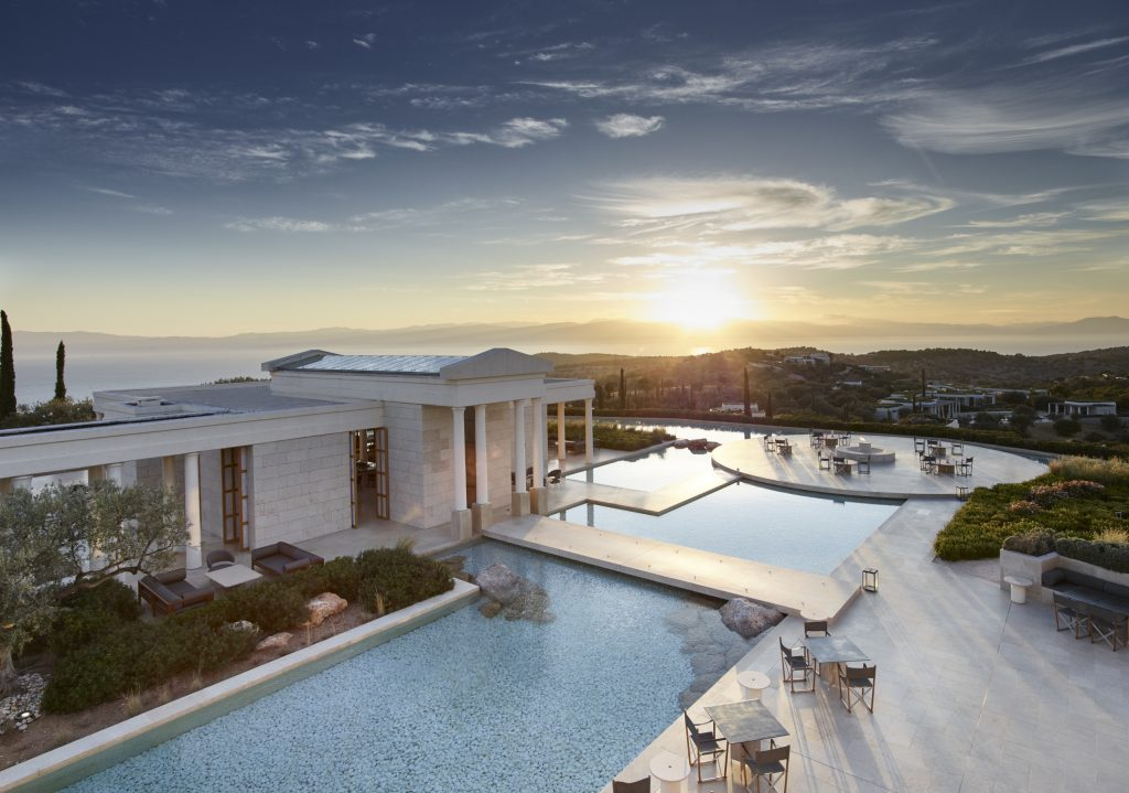 Central pavilion and terrace at Amanzoe designed by ed tuttle