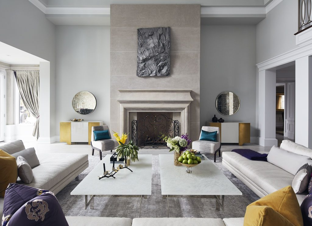 luxury living room Interior designed by Douglas Design Studio - neutral with pops of color
