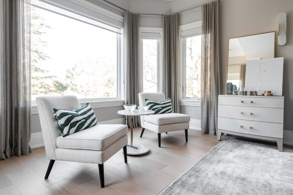 serene master bedroom sitting area