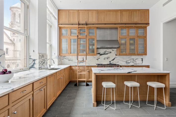 beaux-art dream kitchen with library ladder 555 West End Avenue Kitchen, Photo by Shannon Dupre of DDreps