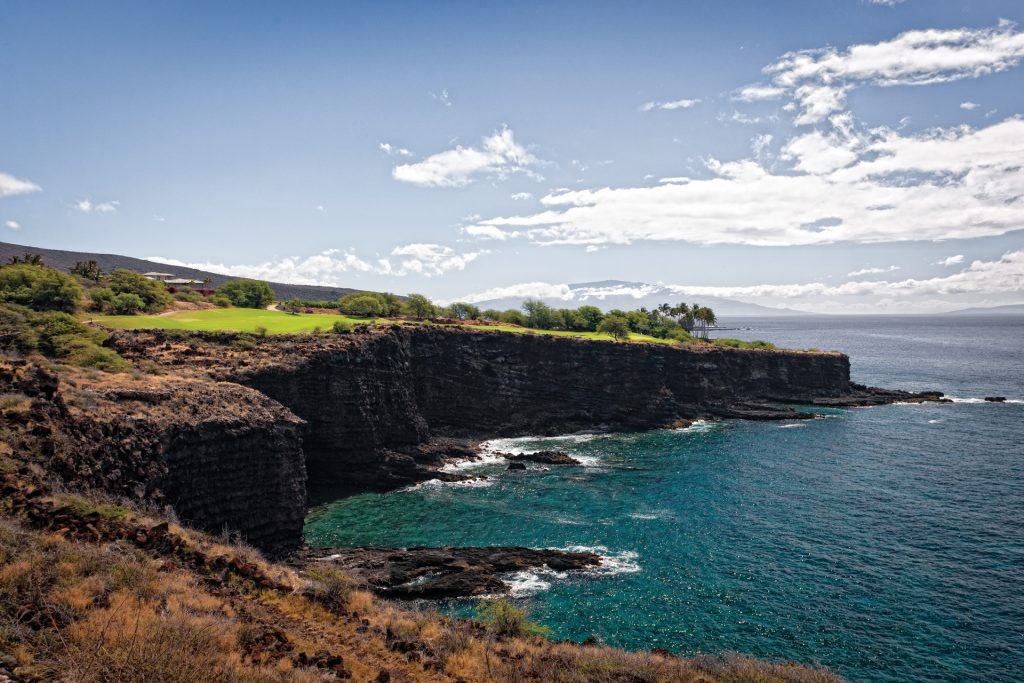 top golf resorts Manele Golf Course signature 17th hole at Four Seasons Resort Lana'i, Photo by Don Riddle