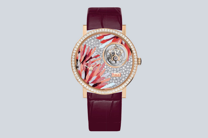 The marquetry and pave diamond-set dial of Piaget jewelry Rainbow Light Tourbillon watch wings of light