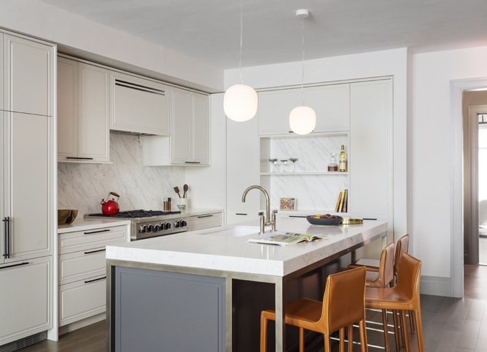 Designed by Studio DB, this kitchen at The Symon in Brooklyn Heights offers state of the art appliances, Photo by Matthew Williams Photography