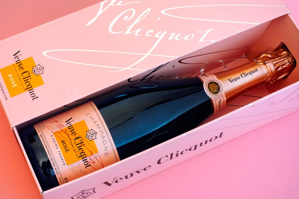 Veuve Clicquot Rose Bottle in pink box