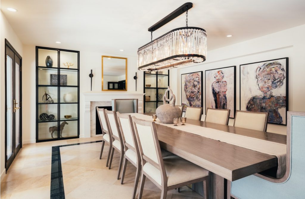 neutral dining room with wood table by inhance interiors