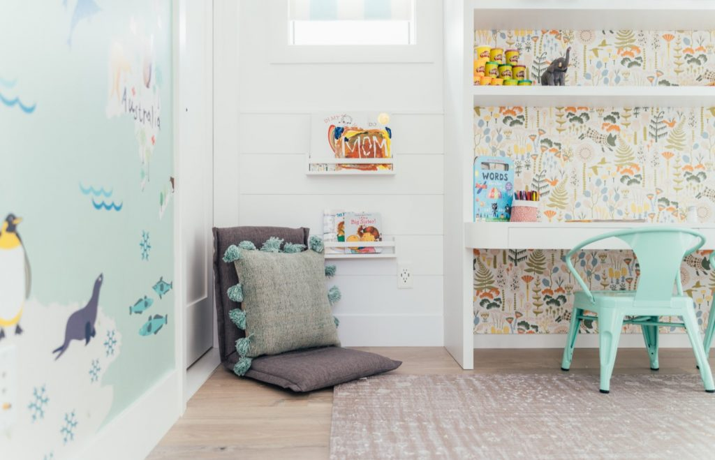 kids playroom with home school desk