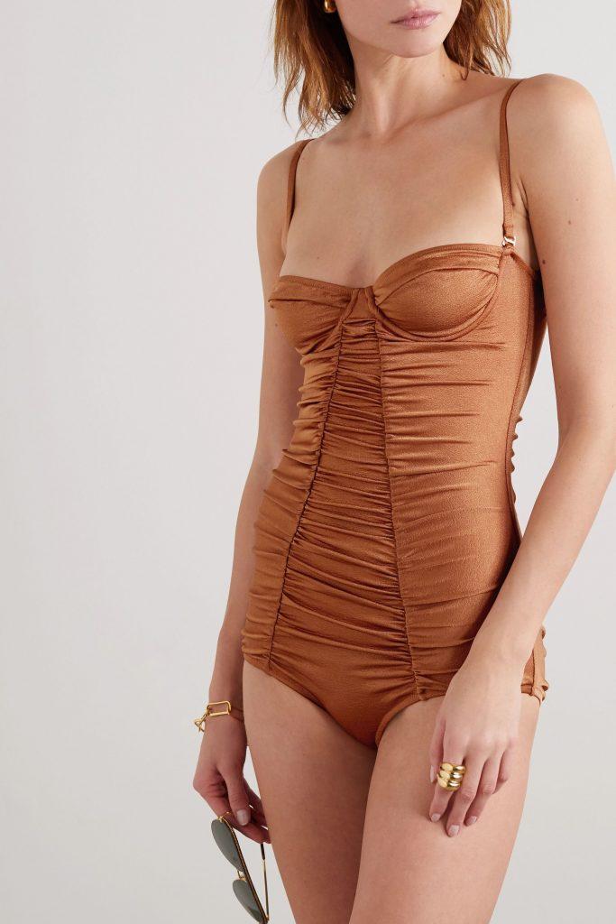 best swimwear brands - Ann ruched underwired swimsuit by Dodo Bar Or