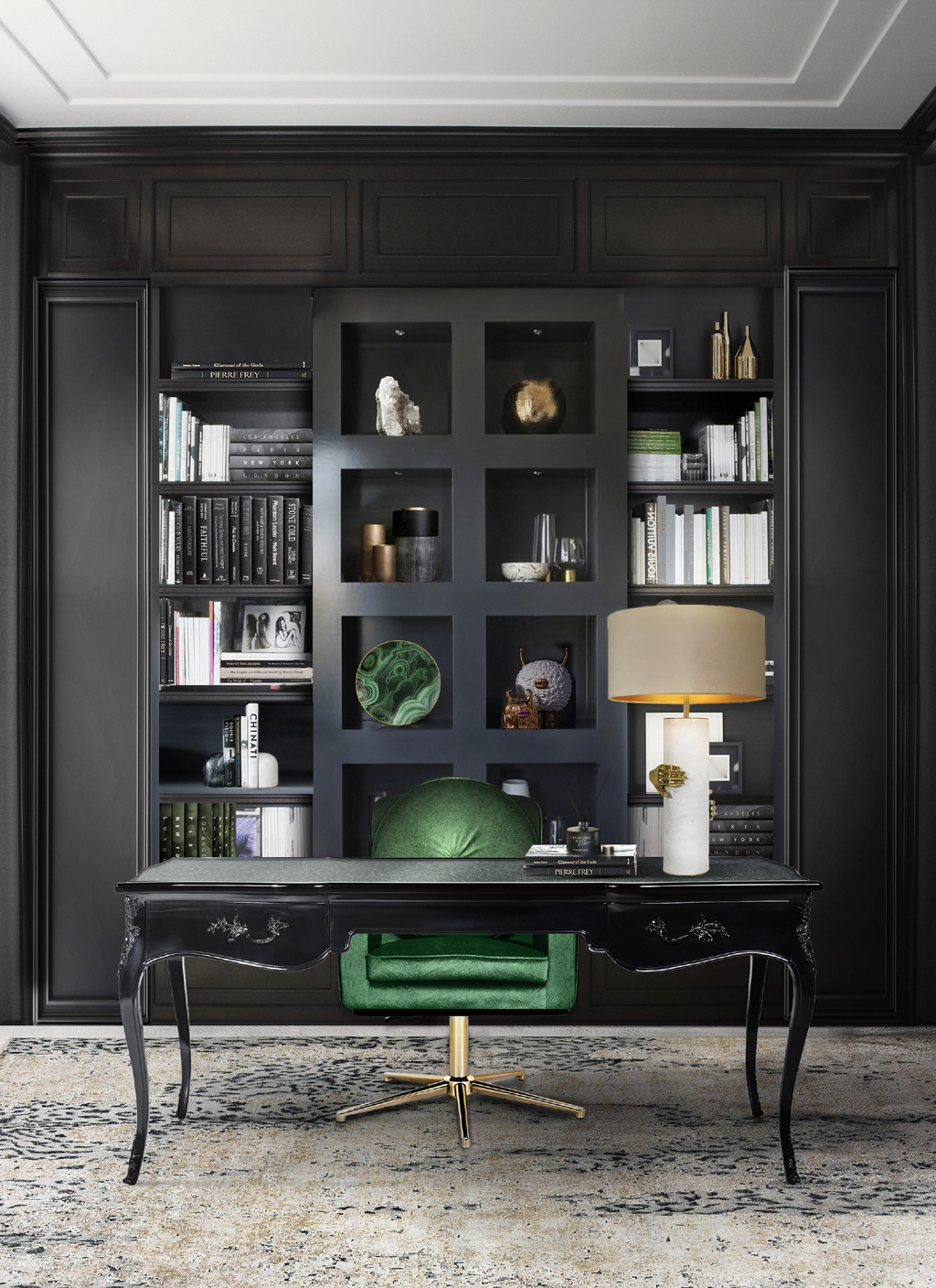 working from home office exotic black lacquer desk marble table lamp green velvet desk chair koket projects