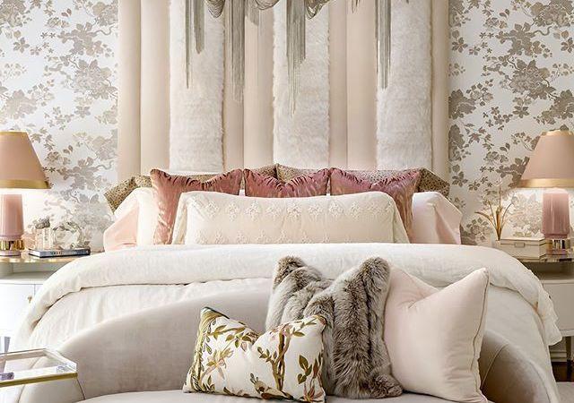Bedroom design by Lori Morris featuring floral wallpaper