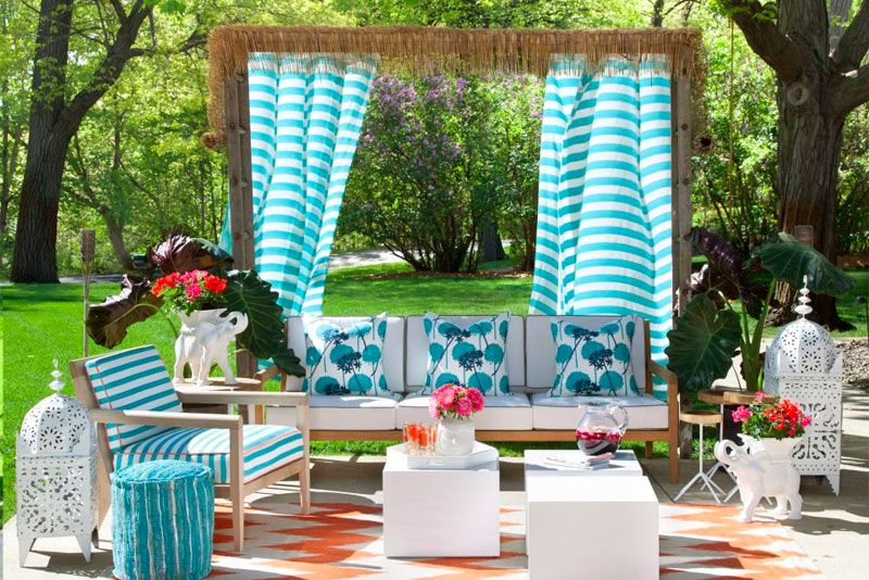 blue and white garden outdoor living room by lucy interior design