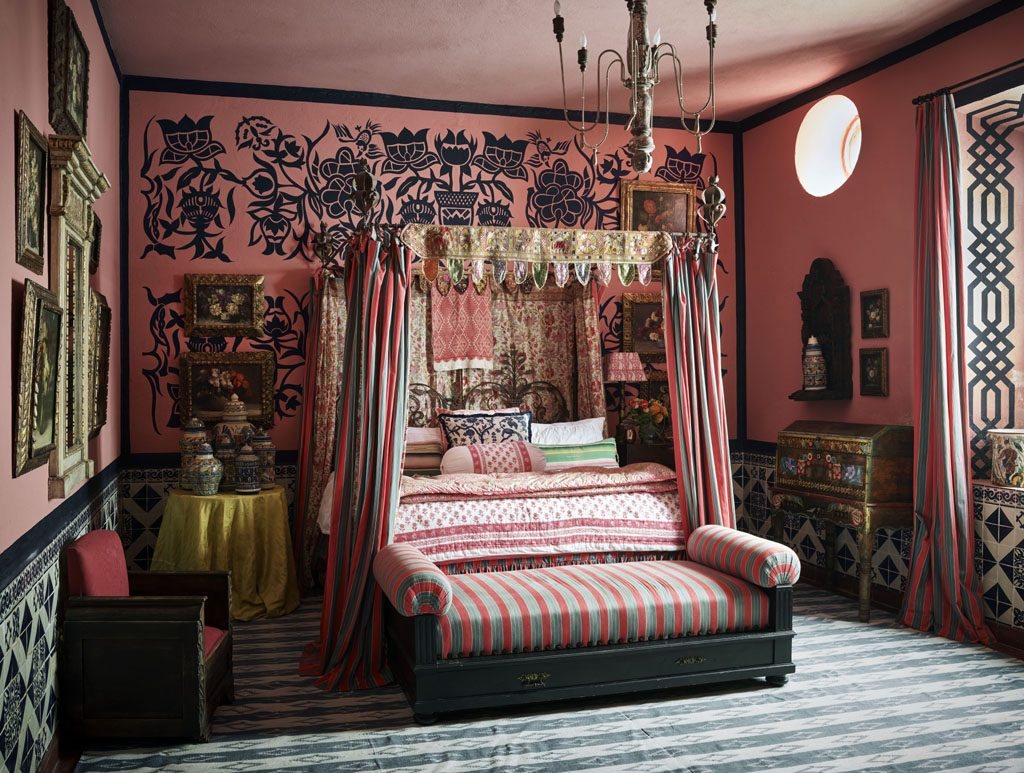 fashionable Bedroom interior design by Michelle Nussbaumer in a stunning residential renovation project in  San Miguel de Allende, Photo by Douglas Friedman