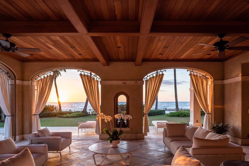 outdoor living room Naples residence designed by Champalimaud Design