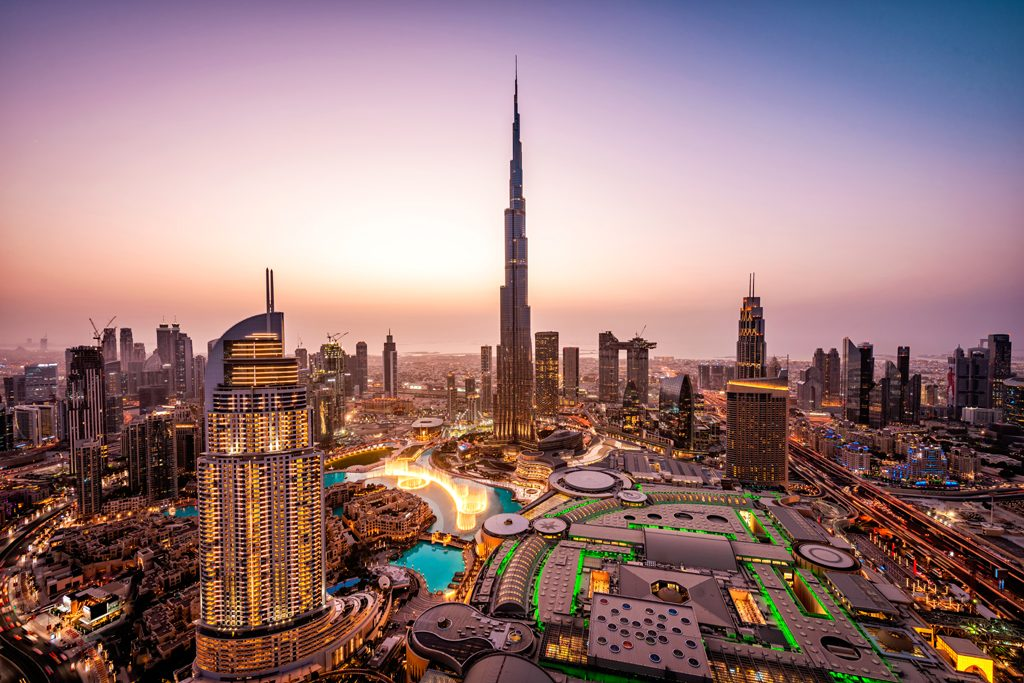 Dubai skyline at sunset, Photo by Mo Azizi - most luxurious cities in the world