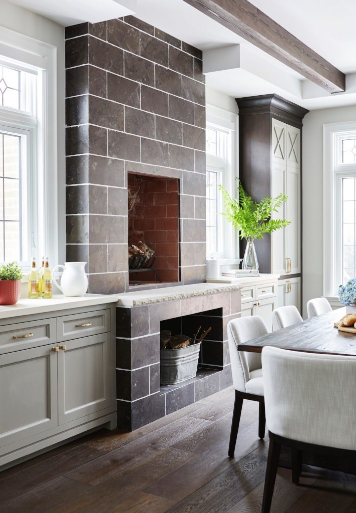 farm house kitchen dining room with fireplace by Dvira