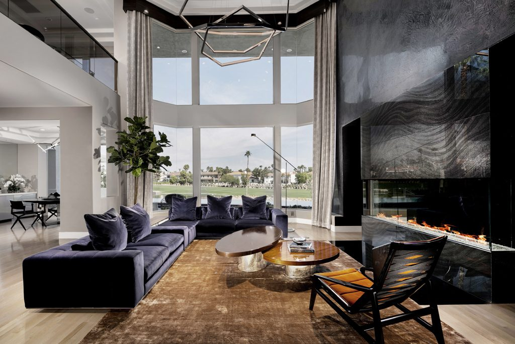 canyon gate vegas contemporary living room with purple sectional sofa by fabiola avelino