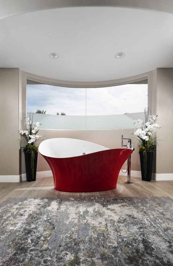 canyon gate vegas contemporary master bath with red tub