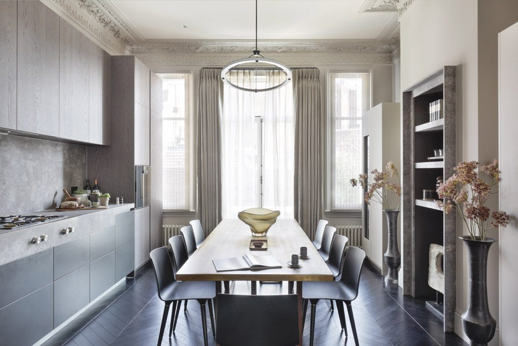 transitional dining room by janine stone & co