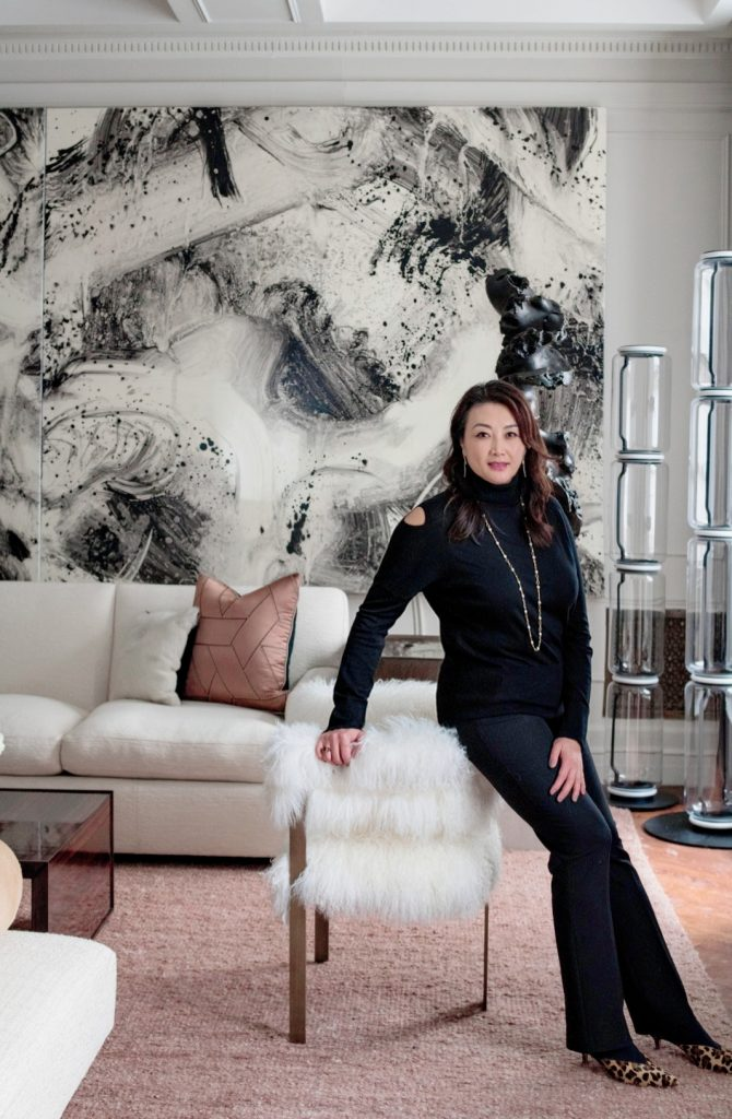 Jasmine Lam in her room designed for Holiday House NYC 2019