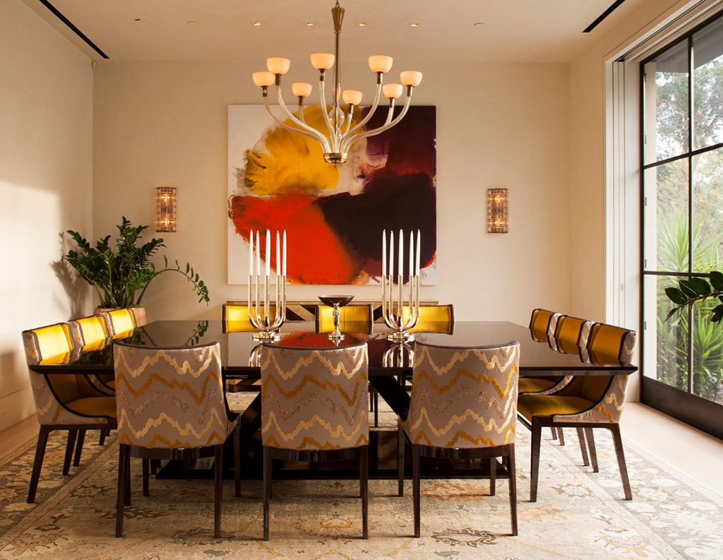 kendall wilkinson design dining room warm tones and giant square dining table