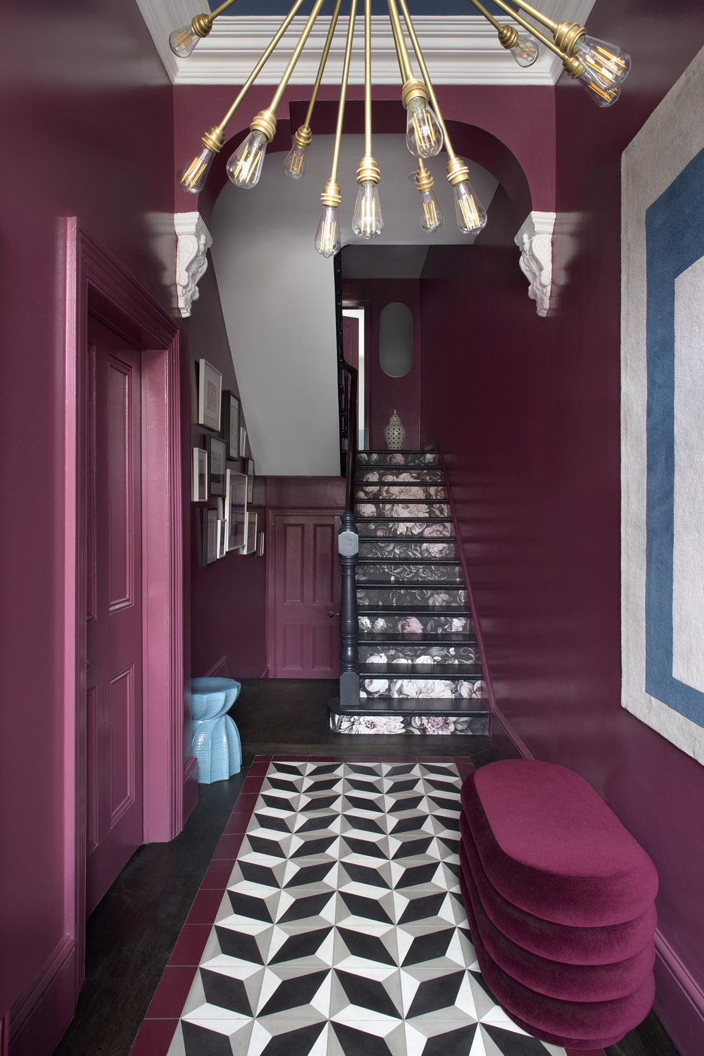 dark rose entryway foyer hall kingston lafferty design