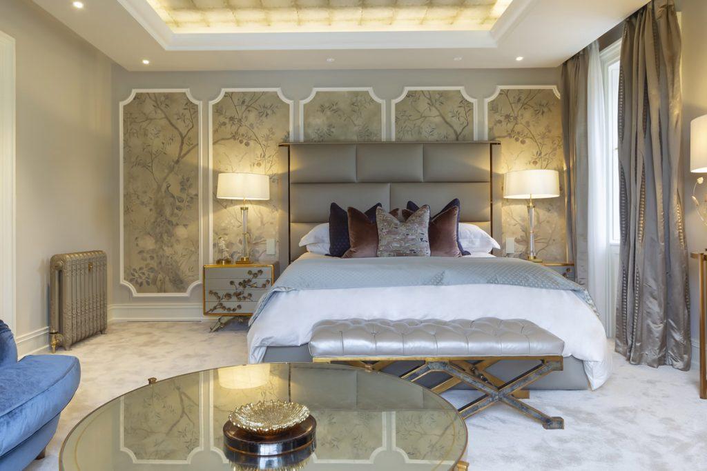 Bedroom design by Kris Turnbull Studio featuring custom Spellbound Nightstands by KOKET