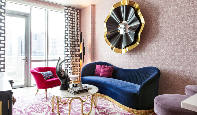 Top Interior Designers in Texas - Maureen Stevens Designs - Seaholm Condo Design - KOKET Reve Mirror, KOKET Kelly Sofa, KOKET Besame 2 Chair - Black and gold round mirror, art deco sofa, luxury sofa, curved back chair, upholstered chair with gold legs