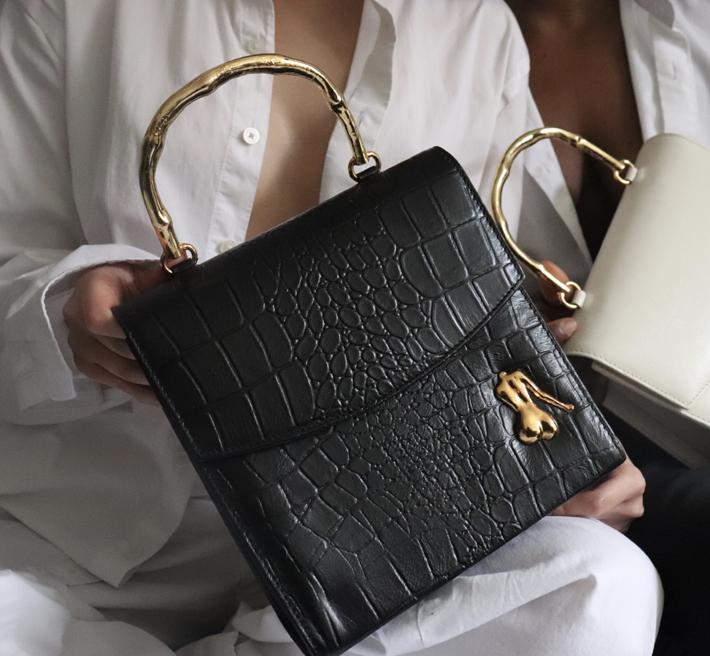 Claude engraved black crocodile purse by Marargent