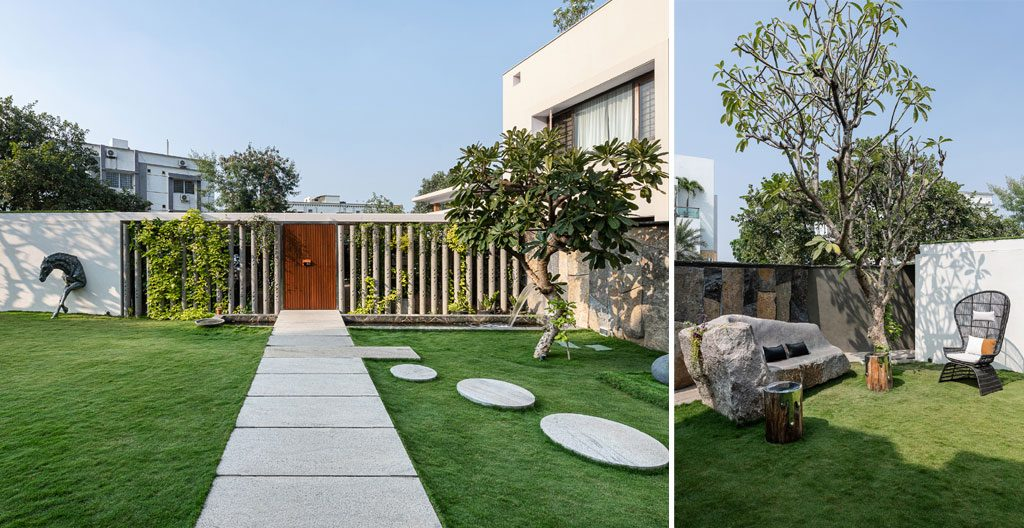 Beautiful yard with green grass at the NR house designed by NA Architects - photo PHX India