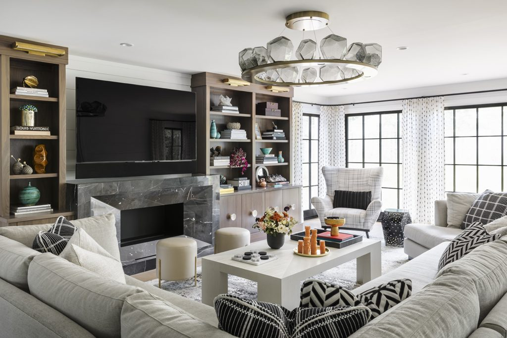 black and white fashionable living room Interior by Nicole Forina Home, Photo by Andrew Frasz