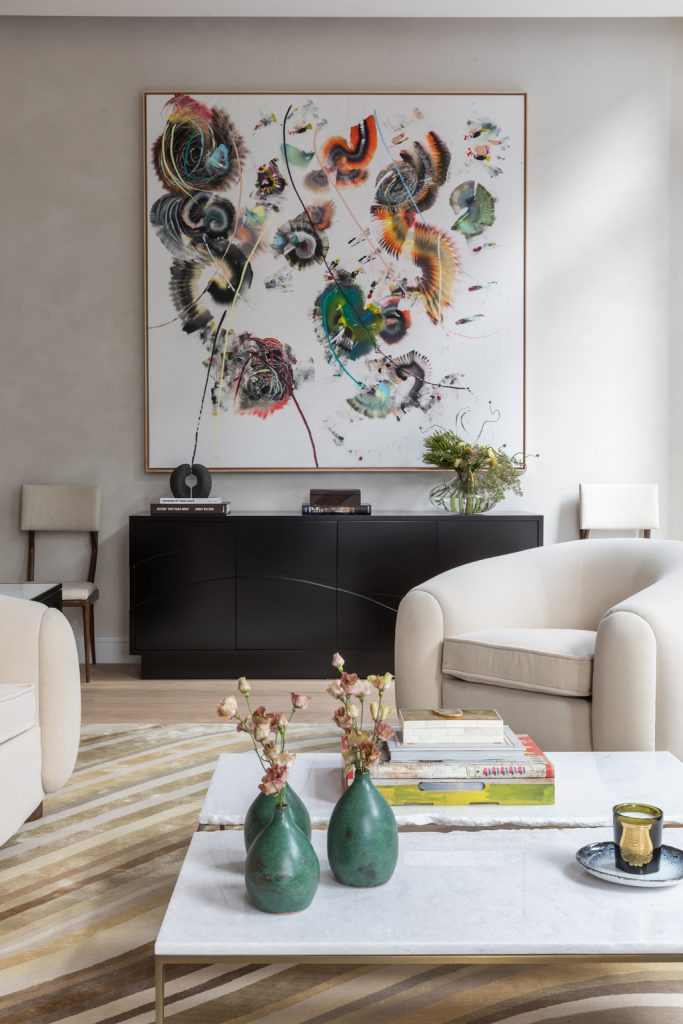 111 Leroy Residence fashionable living room interior by Nicole Fuller Interiors, Photo by Evan Joseph