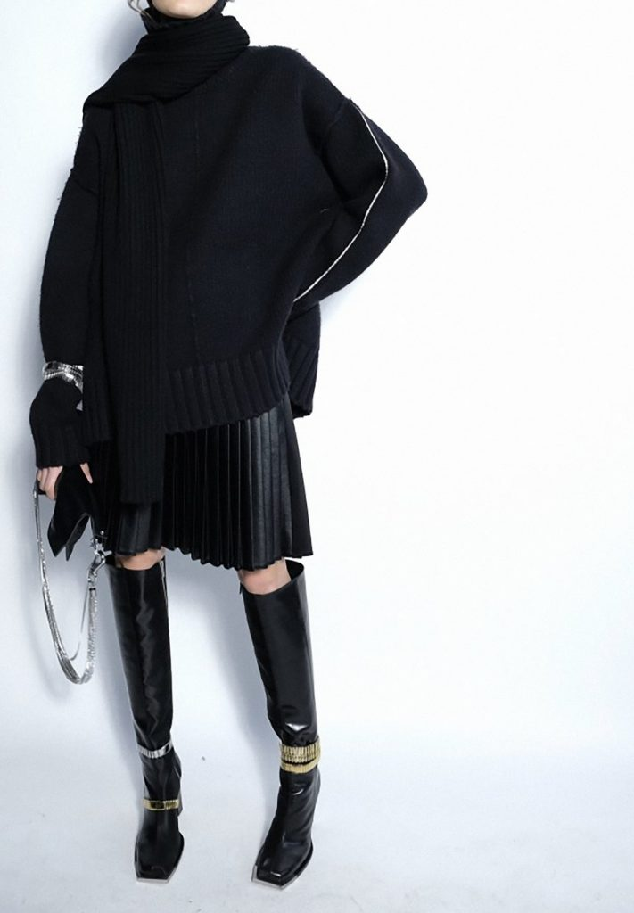 """Black Cashmere Oversized """"Tattoo"""" Sweater, Pleated Skirt & Boots by Peter Do FW20"""