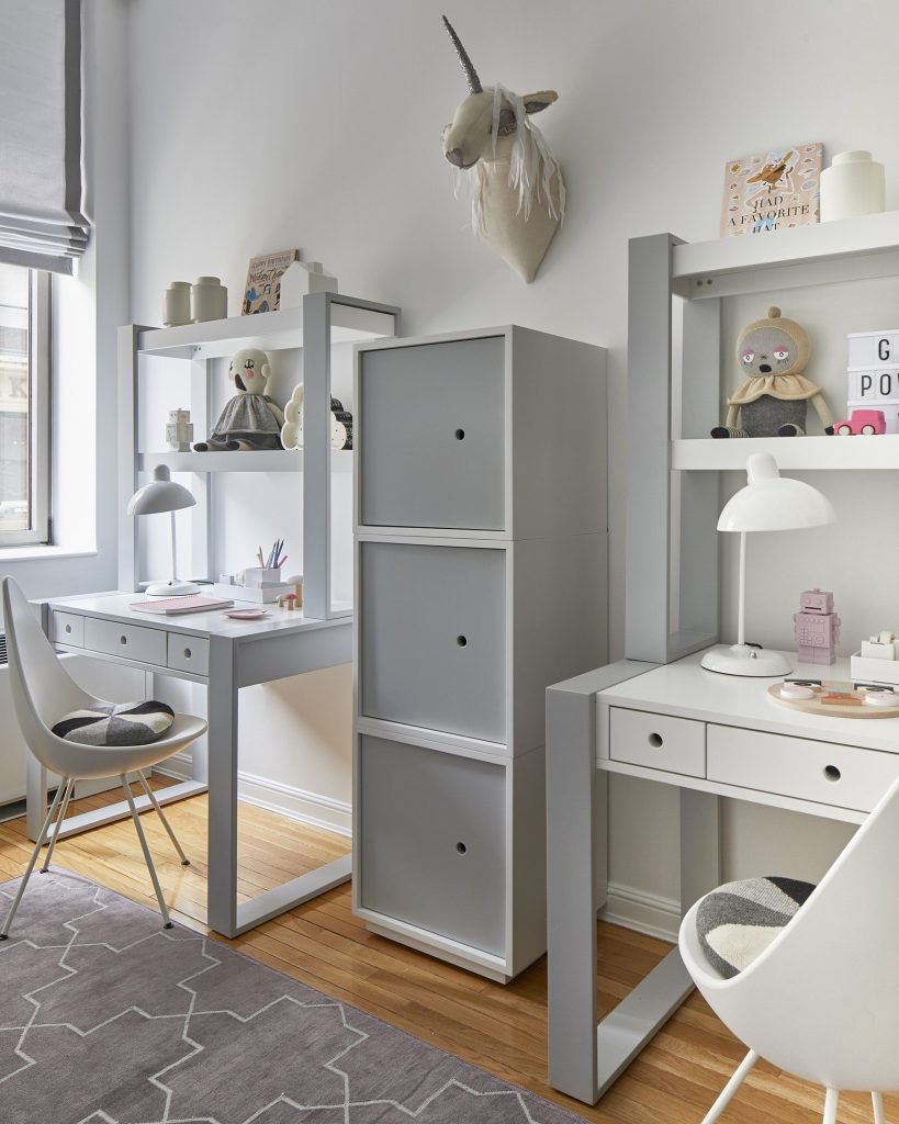 gray and white homeschool area with two desks with hutches by duc duc nyc