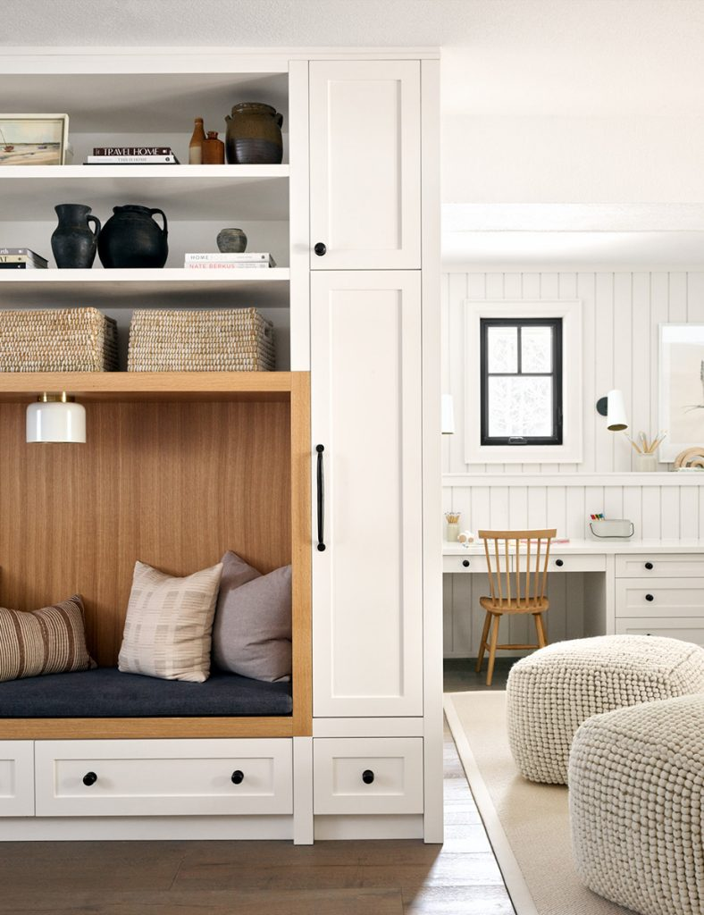 built in bench and home office design by tiffany leigh