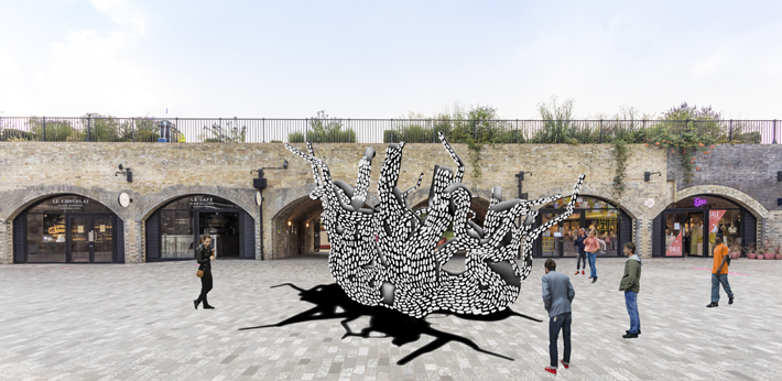 Rendering of Marlene Huissoud's UNITY installation at the South end arches, Coal Drops Yard, King's Cross london design festival 2020
