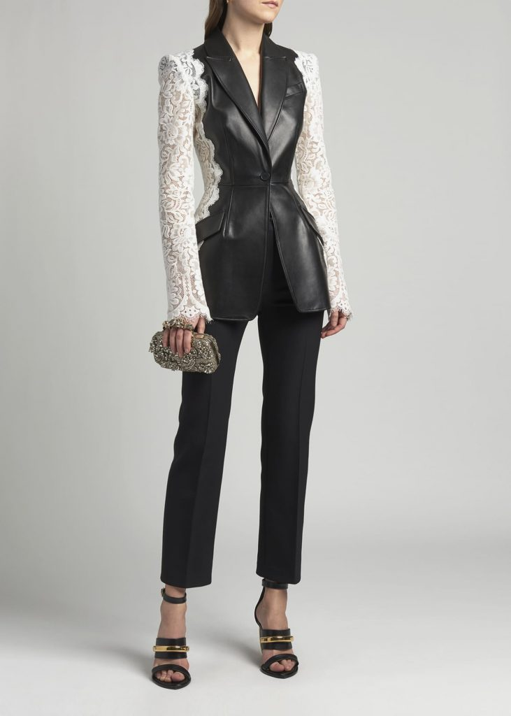 Alexander McQueen Leather Jacket with Lace