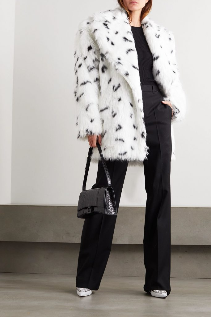 fall 2020 fashion trends - oversized collar - BALENCIAGA Oversized belted printed faux fur coat