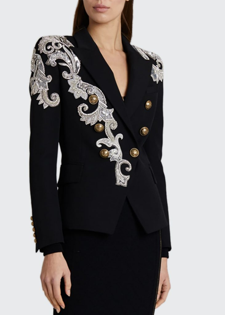 balmain embroidered wool jacket with embellishments