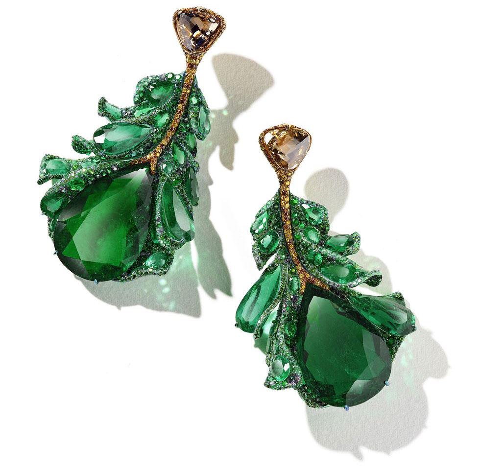 Green Plumule earrings by Cindy Chao