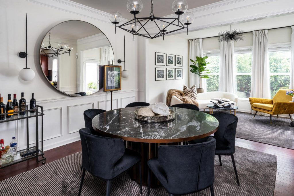 living room dining room Interior design by Forbes + Masters