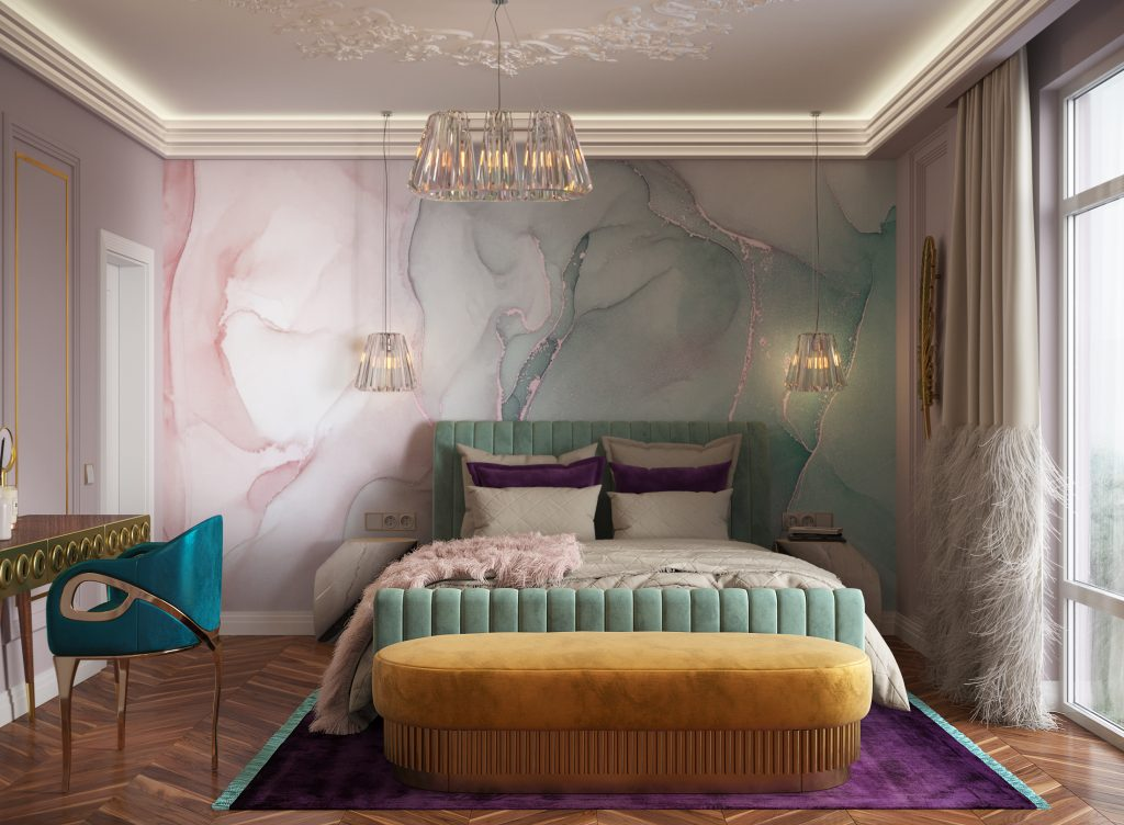 ddr glamorous bedroom featuring chandra chair koket