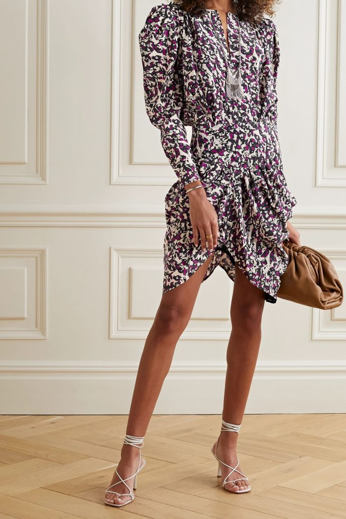 fall 2020 fashion trends - Isabel Marant Margaretia ruched printed silk-blend crepe de chine mini dress