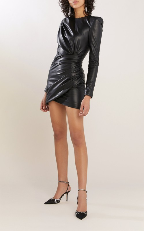 Fall 2020 Fashion Trends - Alexandre Vauthier Black Gathered Leather Mini Dress