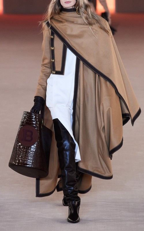 Fall 2020 Fashion Trends - Capes - Balmain Grosgrain-Trimmed Draped Wool-Cashmere Poncho