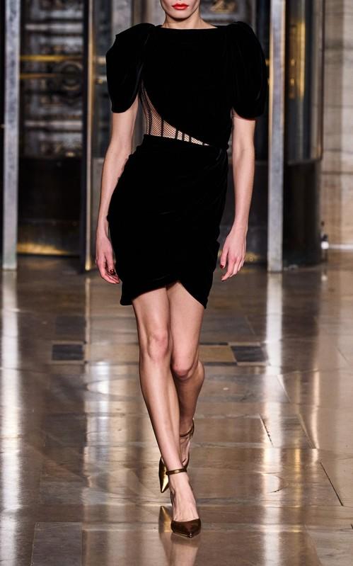 Oscar de la Renta Black exposed corset velvet mini dress - cutout fashion trend