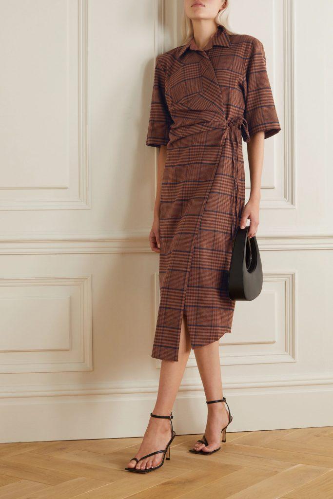 Nanushka Lais Asymmetric Checked Tweed Wrap Dress - plaid 2020 fashion trend
