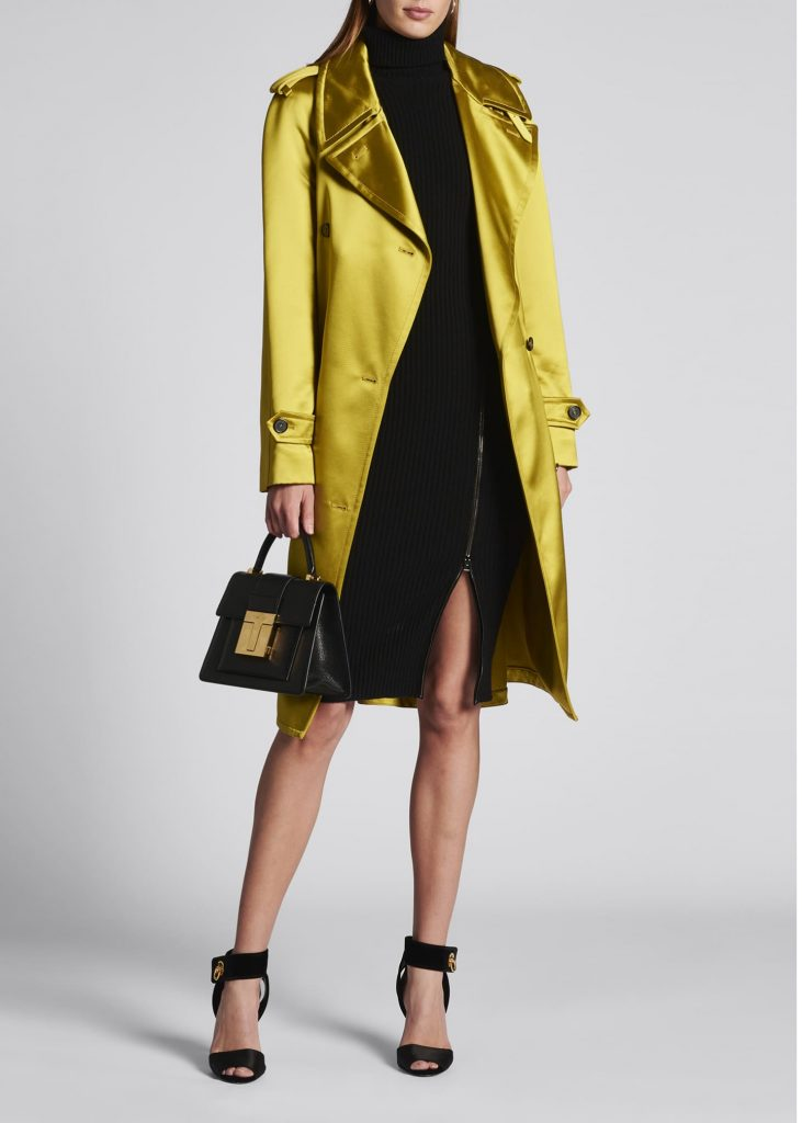 TOM FORD Belted Satin Trench Coat - jewel tone citrine