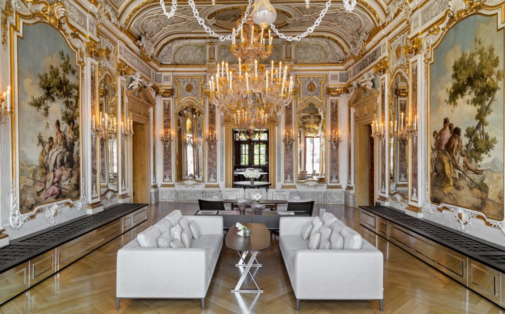 Rococo and Neo-Renaissance lobby designed by Jean-Michel Gathy at Aman Venice, located on the Grand Canal
