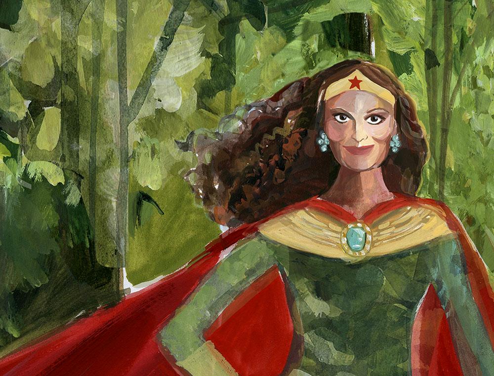 Fashion designer and women empowerment powerhouse Diane Von Furstenburg illustrated by Gayle Kabaker