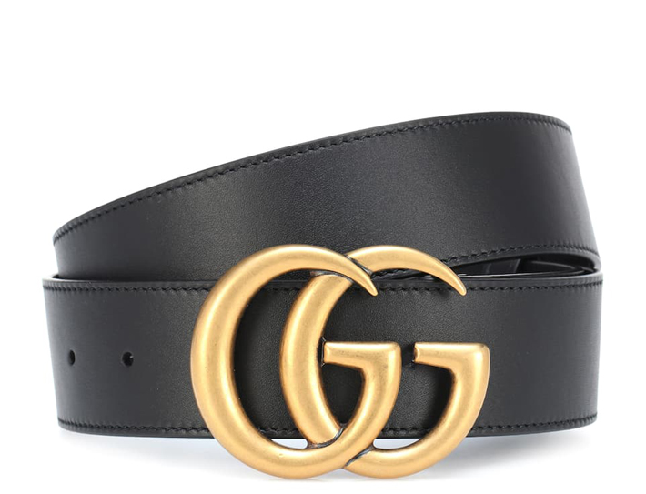 Wide leather belt with Double G buckle by Gucci
